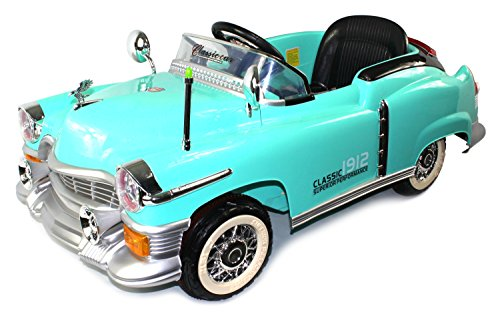 High End Classic 1912 Turquoise Coupe Cruiser Ride on Car for Kids