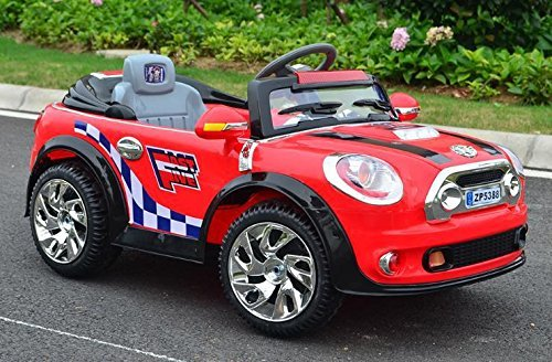 red kids mini cooper ride on car